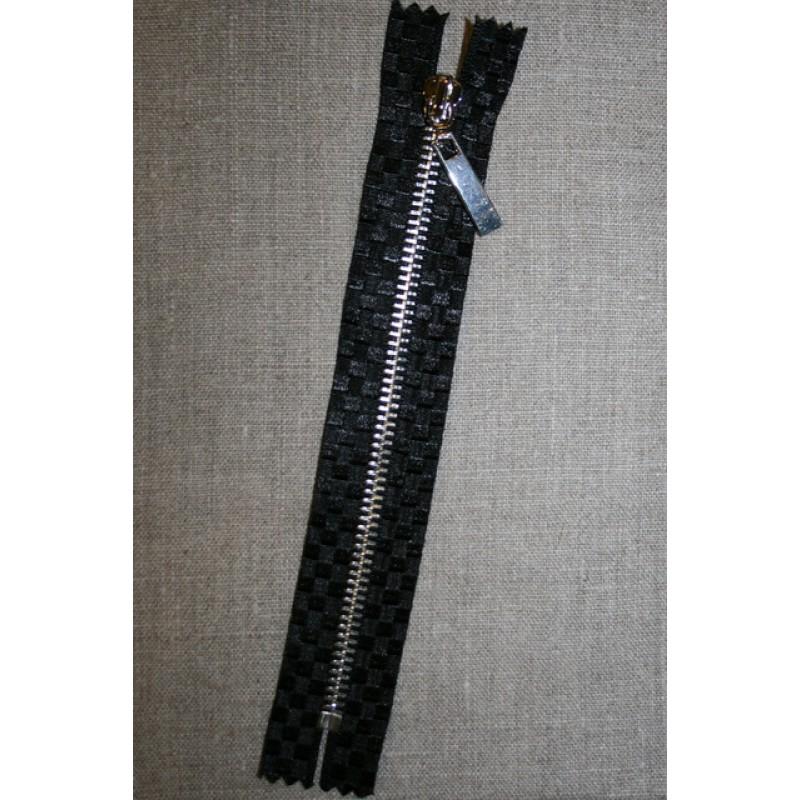 18 cm. lynlås metal sort m/tern /sølv