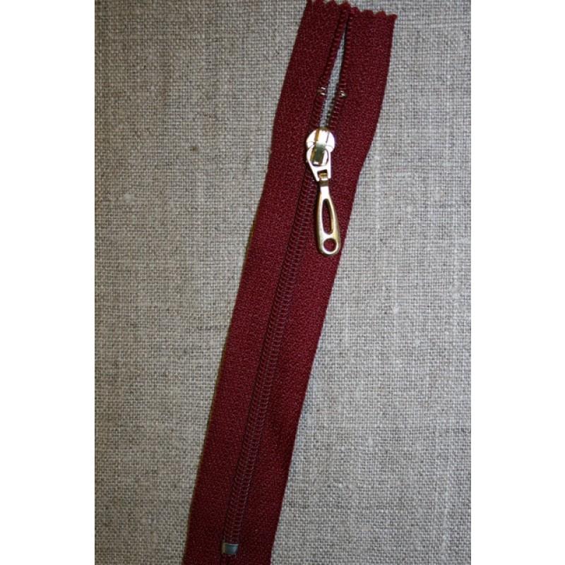 13 cm lynlås plast-guld vedhæng, mørk rød-35