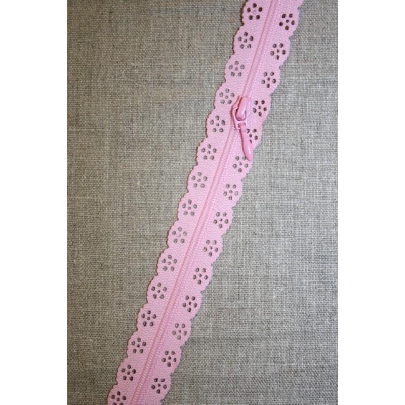 Blonde-lynlås i metermål, lyserød-31