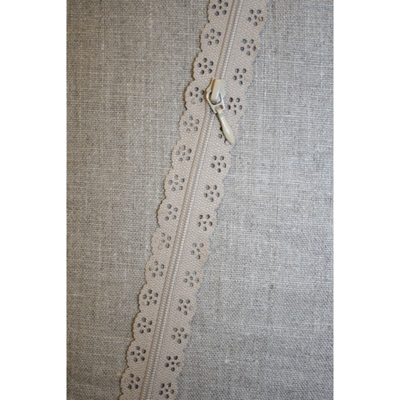 Rest Blonde-lynlås i metermål, sand, 57 cm.-35