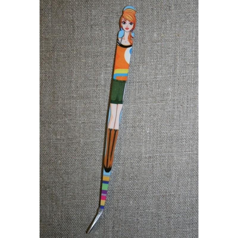 Pincet 15 cm. med pige orange-army