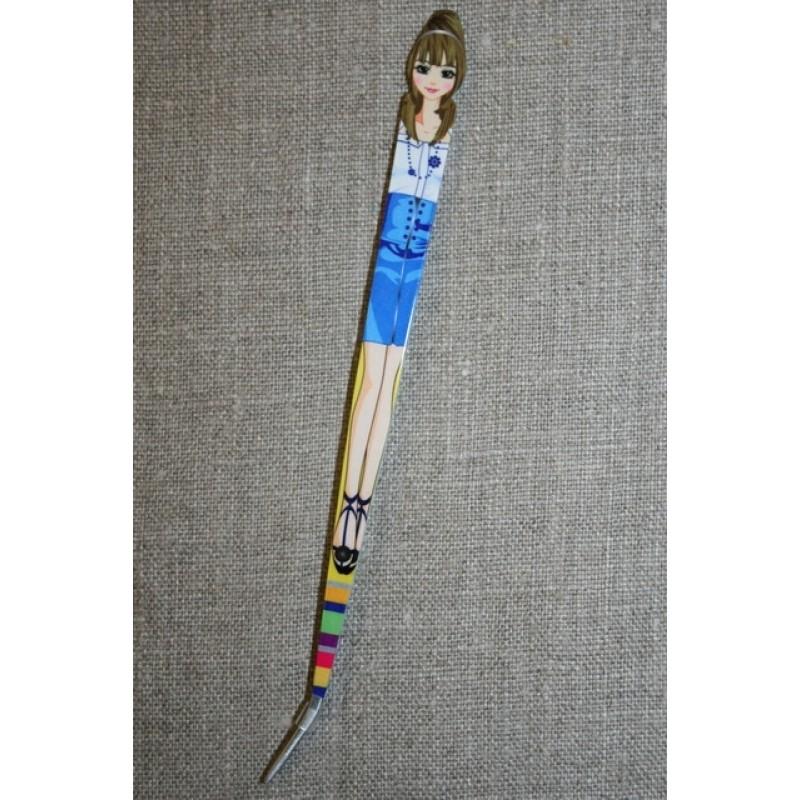 Pincet 15 cm. med pige blå-hvid