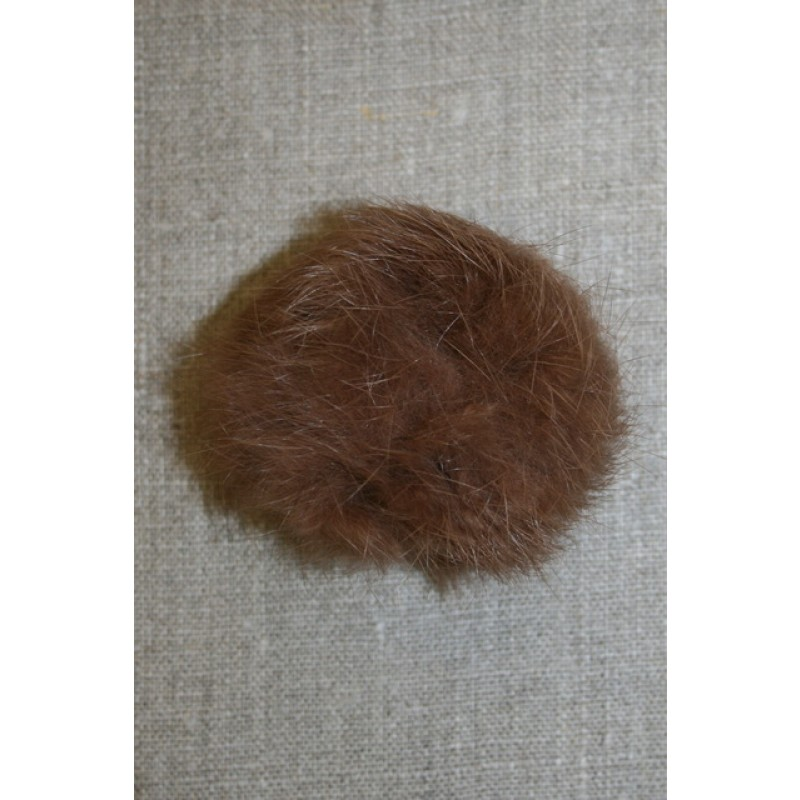 Pels-pompon af kanin, 6 cm. brun-31