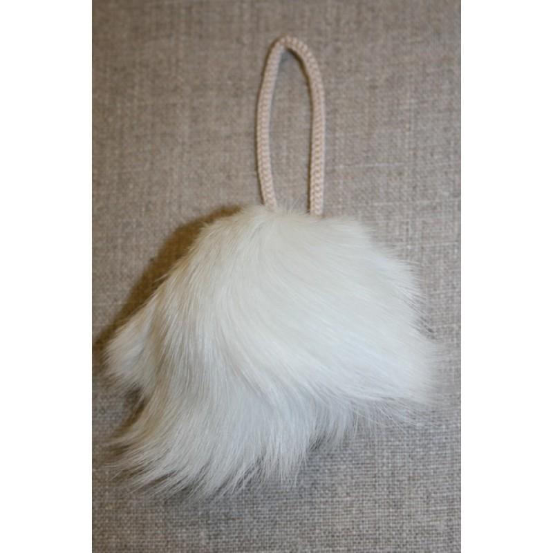 Pels-pompon af kanin, 9 cm. hvid