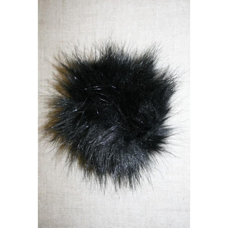 Pels-pompon i acryl, sort 12 cm.