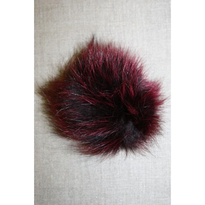 Pels-pompon af ræv, 10-12 cm. bordeaux-33