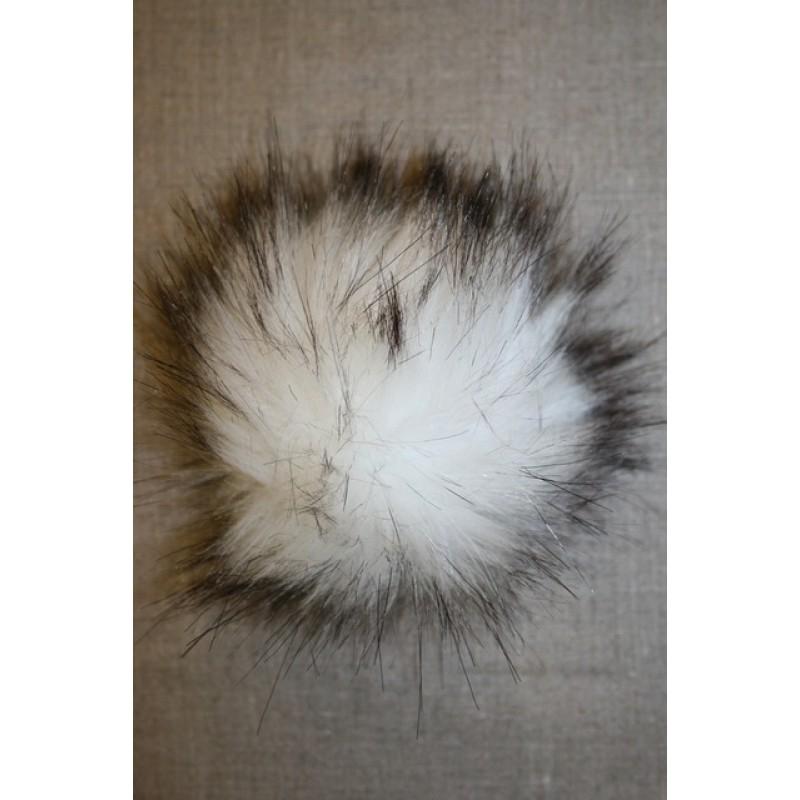 Pels-pompon i acryl, hvid/sort, 12 cm.-31