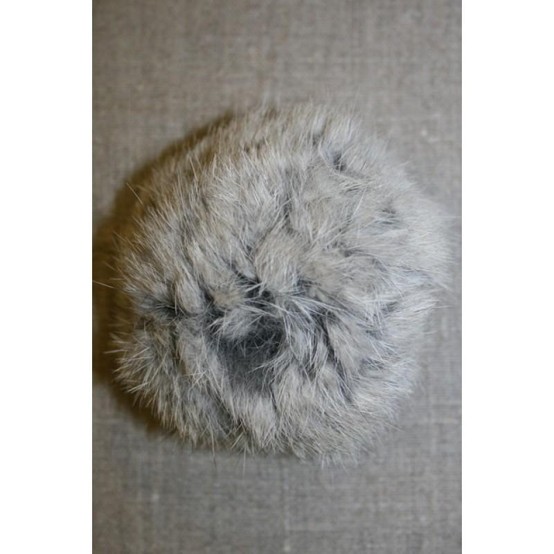 Pels-pompon af kanin, 100 mm. grå-33