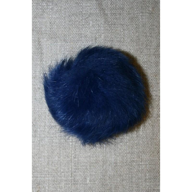 Pels-pompon af kanin, 6 cm. blå