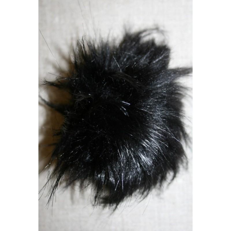 Pels-pompon i polyester, sort, 10-12 cm.-33