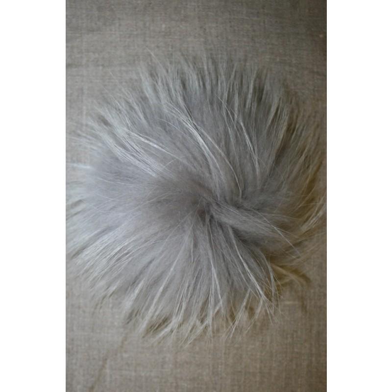 Pels-pompon af vaskebjørn, lysegrå 14 cm.
