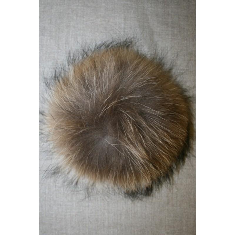 Pels-pompon af vaskebjørn, natur 14 cm.-35