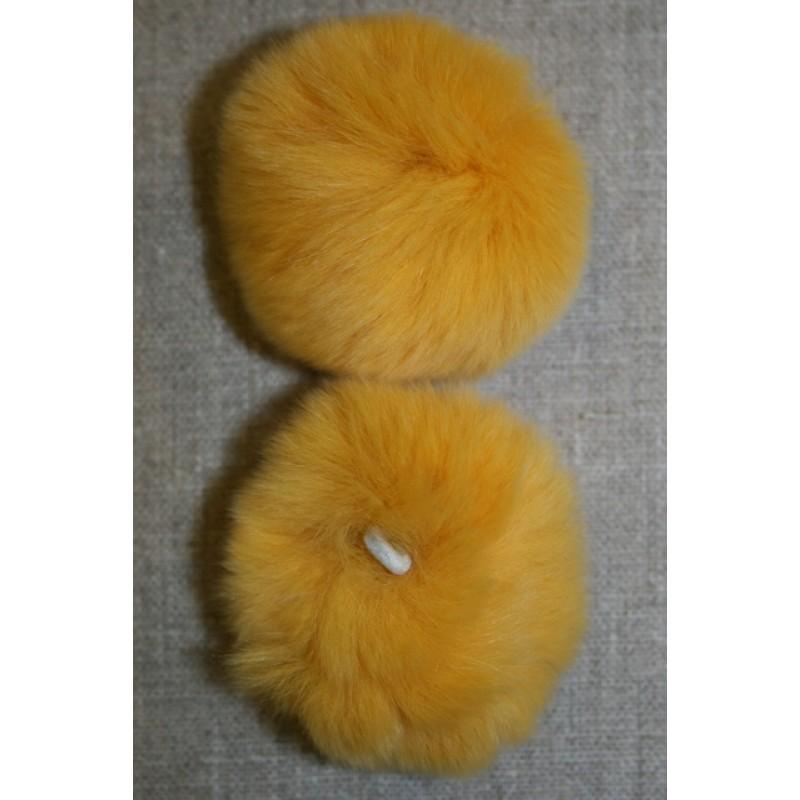Pels-pompon af kanin, 6 cm. gul