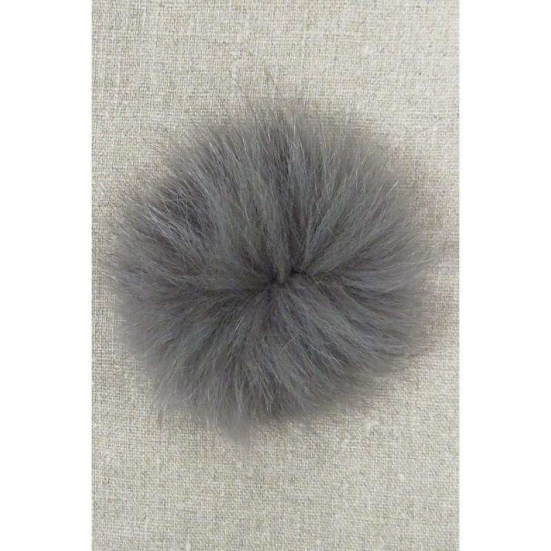 Pels-pompon af ræv, mørk grå 10 cm.-37