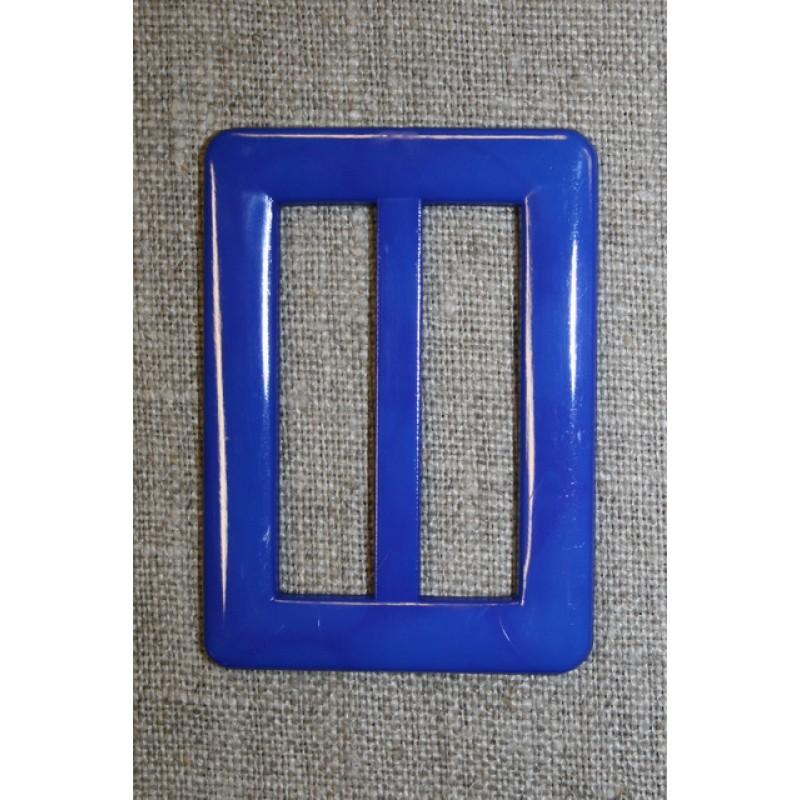 Plast spænde aflang 40 mm. koboltblå