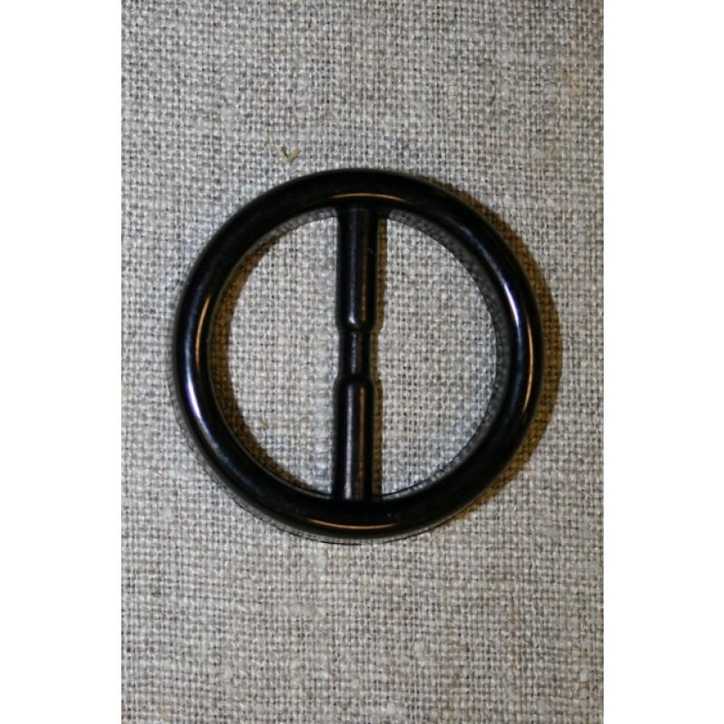 Plast spænde rundt 30 mm. sort-35