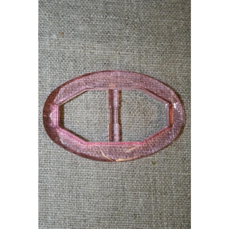 Plast spænde oval klar 20 mm. lys pink-31