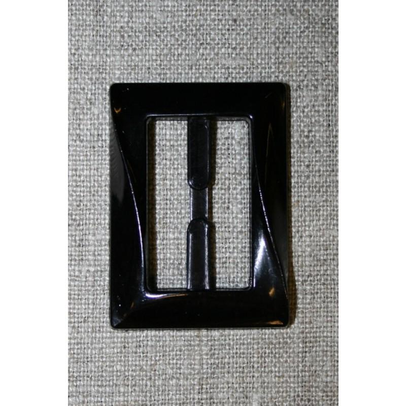 Plast spænde aflang 30 mm. sort
