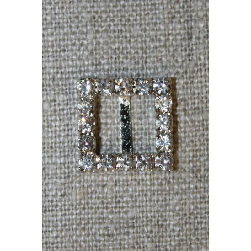 Spænde m/simili-sten firkant, 15 mm.