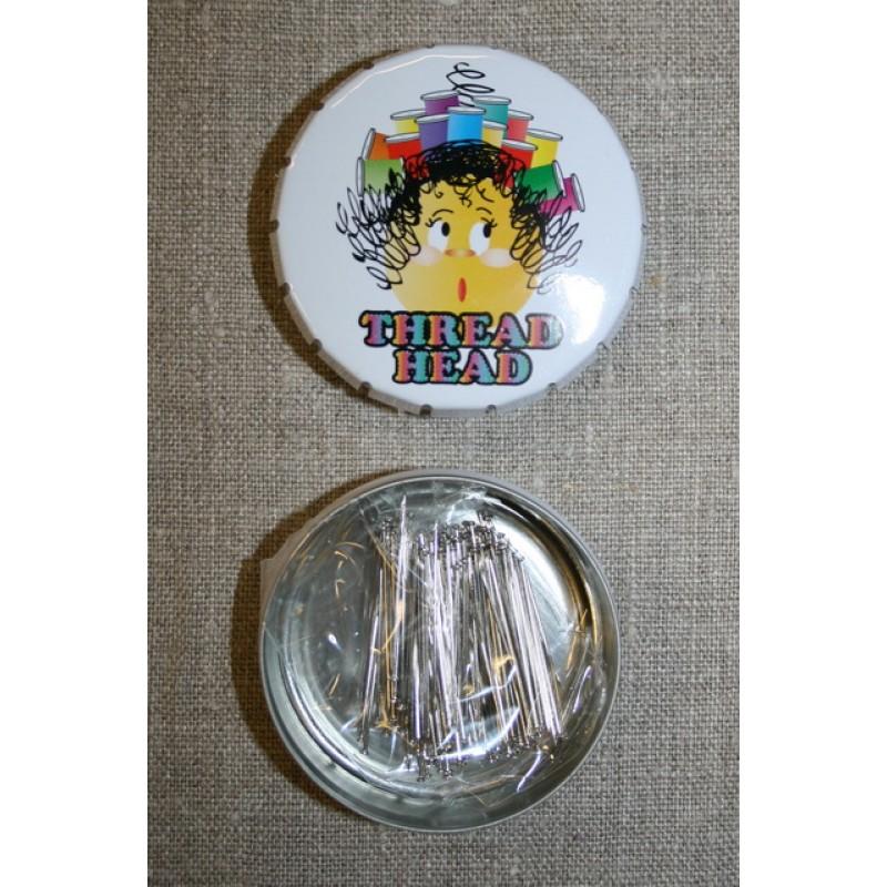 Click-clack-æske m/knappenåle, hvid Thread Head-35