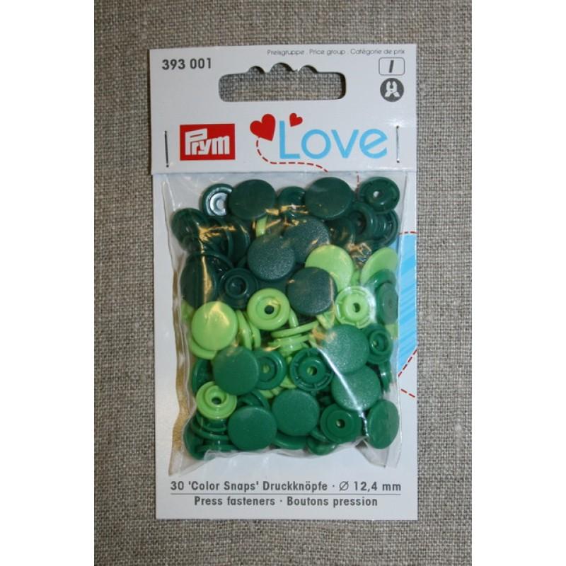Plast-trykknap rund, lime grøn mørkegrøn-33