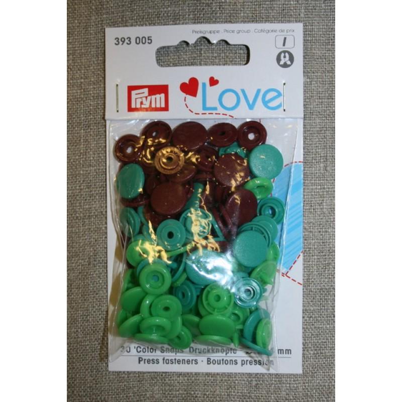 Plast-trykknap rund, lime-grøn irgrøn rød-brun-33