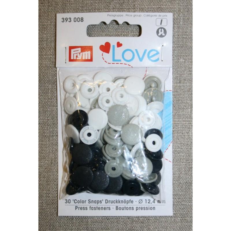 Plast-trykknap rund, sort hvid lysegrå-31