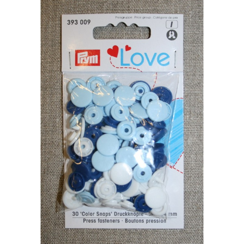Plast-trykknap rund, hvid mørkeblå lyseblå-31