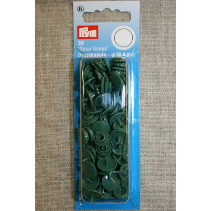 Plast-trykknap rund, mørkegrøn-35