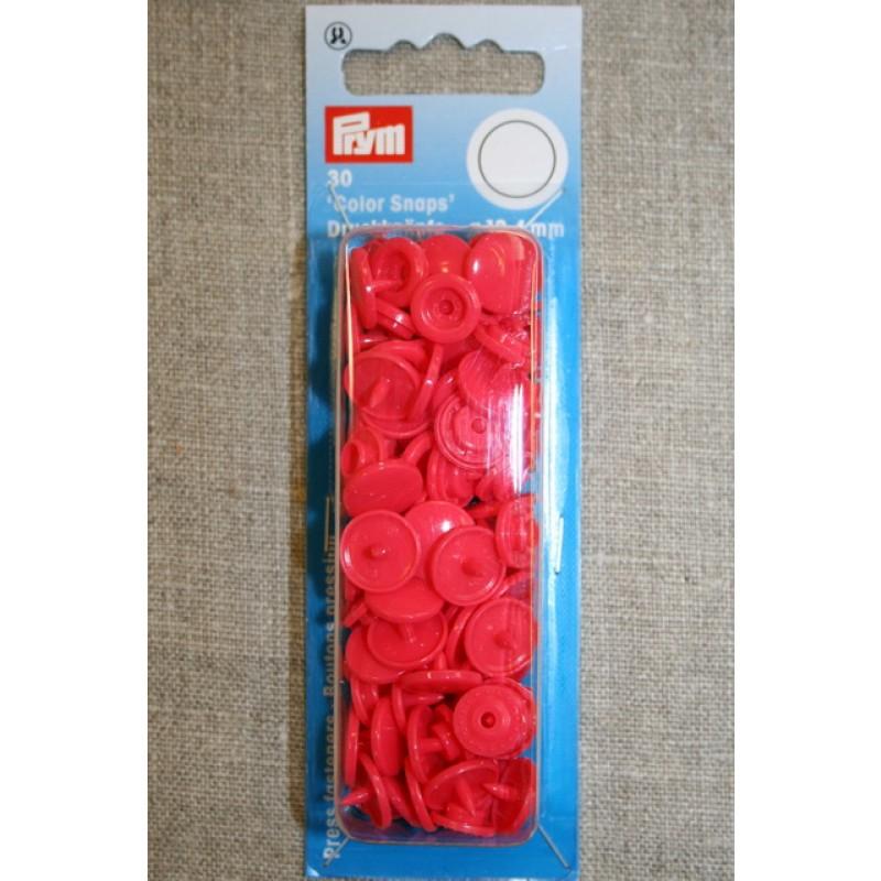 Plast-trykknap rund, koral-35