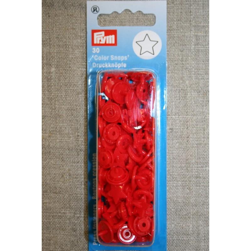 Plast-trykknap stjerne, rød