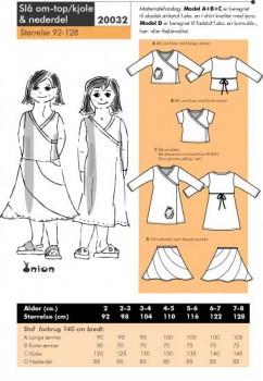 Onion 20032 -Slå om-top/ kjole & nederdel.