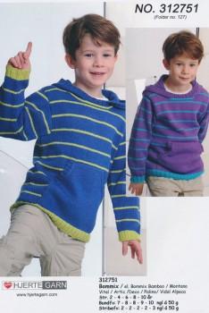 312751 Sweater m/hætte & lomme