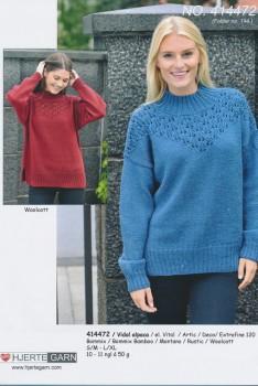414472 Oversize sweater m/hulmønster