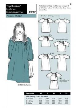 Onion 2027 Top/ tunika/ kjole med kimonoærme