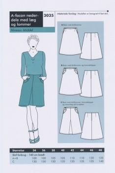 Onion 3035 -A-facon nederdel m/læg & lommer