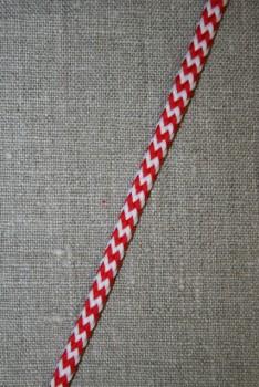 Anoraksnor 5 mm. m/zig-zag-mønster, hvid/rød