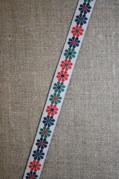 Bånd med blomster grøn-rød-blå