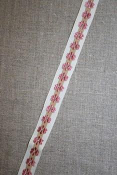 Rest Grosgrain-bånd med blomst off-white-beige-gl.rosa- 37 cm.