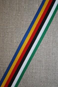 Stribet bånd kobolt/rød/gul/grøn