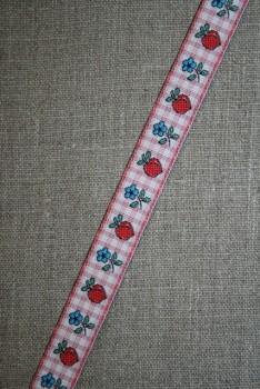 Bånd ternet m/blomster & æbler
