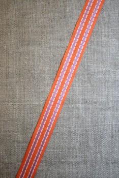 Stribet bånd 15 mm. orange-hvid-lyselilla