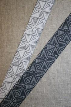 Dobbelt bånd m/ringe sort/hvid