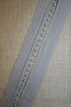 Bomulds-bånd med broderi & pompom, grå
