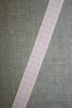 Ternet bånd off-white/babylyserød, 15 mm.