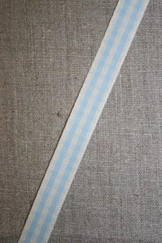 Ternet bånd off-white/lyseblå, 15 mm.