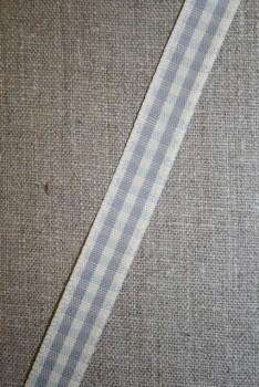 Ternet bånd off-white/grå, 15 mm.