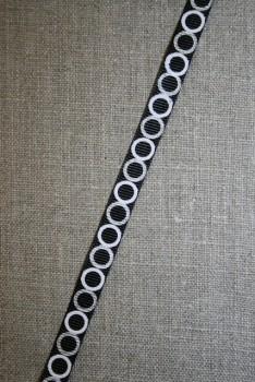 Grossgrain-bånd med cirkler sort-hvid-grå