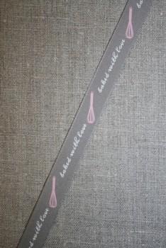 Bånd med Baked Whit love, grå-lyserød