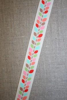 Grossgrain-bånd med blade, off-white og lyserød, 25 mm.
